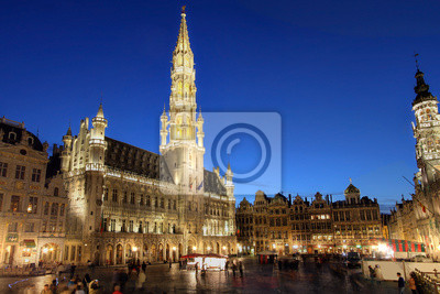 Grand Place, Брюссель, Бельгия, 30x20 см, на бумагеБельгия<br>Постер на холсте или бумаге. Любого нужного вам размера. В раме или без. Подвес в комплекте. Трехслойная надежная упаковка. Доставим в любую точку России. Вам осталось только повесить картину на стену!<br>