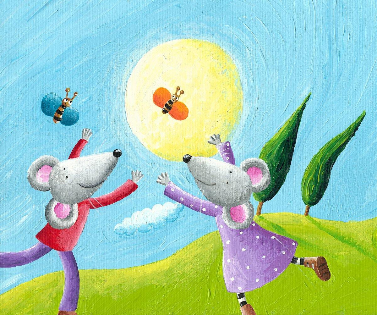 Постер Разные детские постеры Мышей в любви работает на лугуРазные детские постеры<br>Постер на холсте или бумаге. Любого нужного вам размера. В раме или без. Подвес в комплекте. Трехслойная надежная упаковка. Доставим в любую точку России. Вам осталось только повесить картину на стену!<br>