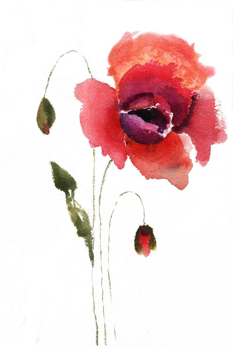 Постер Маки Акварельные иллюстрации красный цветок макаМаки<br>Постер на холсте или бумаге. Любого нужного вам размера. В раме или без. Подвес в комплекте. Трехслойная надежная упаковка. Доставим в любую точку России. Вам осталось только повесить картину на стену!<br>