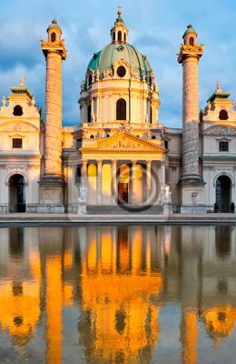Постер Вена Karlskirche церкви в Вене, Австрия, с отражениемВена<br>Постер на холсте или бумаге. Любого нужного вам размера. В раме или без. Подвес в комплекте. Трехслойная надежная упаковка. Доставим в любую точку России. Вам осталось только повесить картину на стену!<br>