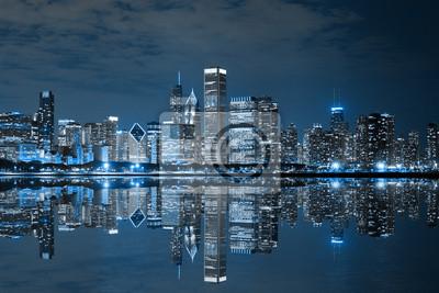 Постер Чикаго Chicago Downtown НочьюЧикаго<br>Постер на холсте или бумаге. Любого нужного вам размера. В раме или без. Подвес в комплекте. Трехслойная надежная упаковка. Доставим в любую точку России. Вам осталось только повесить картину на стену!<br>