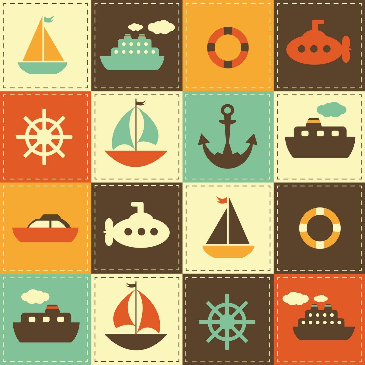 Постер Дизайнерские обои для детской Лоскутное фоне морского транспортаДизайнерские обои для детской<br>Постер на холсте или бумаге. Любого нужного вам размера. В раме или без. Подвес в комплекте. Трехслойная надежная упаковка. Доставим в любую точку России. Вам осталось только повесить картину на стену!<br>