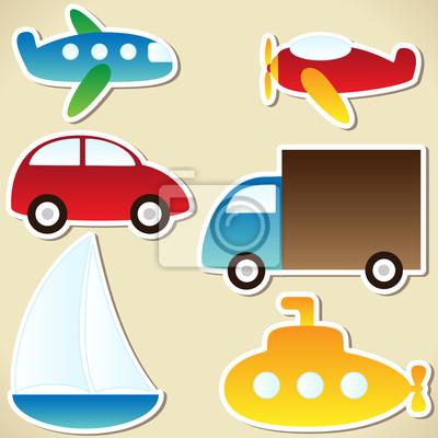 Постер Дизайнерские обои для детской Транспортный наборДизайнерские обои для детской<br>Постер на холсте или бумаге. Любого нужного вам размера. В раме или без. Подвес в комплекте. Трехслойная надежная упаковка. Доставим в любую точку России. Вам осталось только повесить картину на стену!<br>