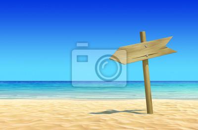 Постер Пейзаж морской Пустой деревянный указатель на идиллический тропический песок пляжаПейзаж морской<br>Постер на холсте или бумаге. Любого нужного вам размера. В раме или без. Подвес в комплекте. Трехслойная надежная упаковка. Доставим в любую точку России. Вам осталось только повесить картину на стену!<br>
