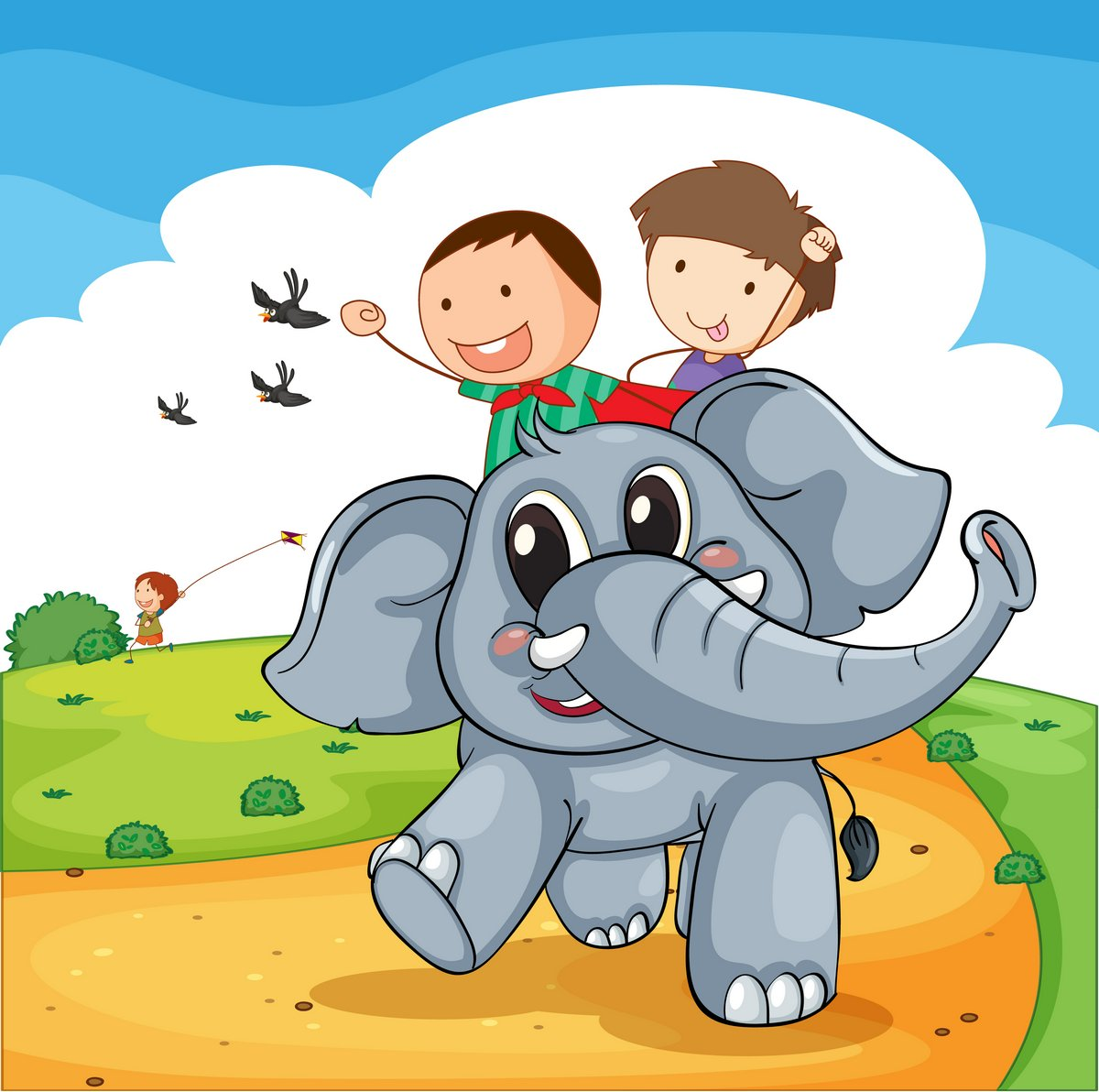 Постер Разные детские постеры Поездка на слонахРазные детские постеры<br>Постер на холсте или бумаге. Любого нужного вам размера. В раме или без. Подвес в комплекте. Трехслойная надежная упаковка. Доставим в любую точку России. Вам осталось только повесить картину на стену!<br>