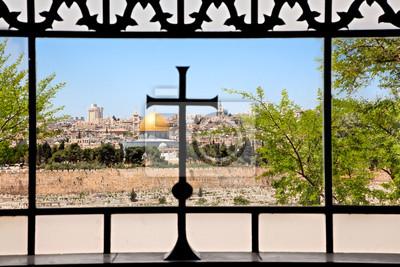 Постер Иерусалим Вид из Dominus Flevit церковь на старом ИерусалимеИерусалим<br>Постер на холсте или бумаге. Любого нужного вам размера. В раме или без. Подвес в комплекте. Трехслойная надежная упаковка. Доставим в любую точку России. Вам осталось только повесить картину на стену!<br>
