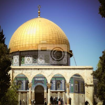 Постер Иерусалим Купол Скалы в ИерусалимеИерусалим<br>Постер на холсте или бумаге. Любого нужного вам размера. В раме или без. Подвес в комплекте. Трехслойная надежная упаковка. Доставим в любую точку России. Вам осталось только повесить картину на стену!<br>
