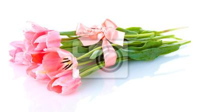 Красивые розовые тюльпаны, изолированных на белый., 36x20 см, на бумагеТюльпаны<br>Постер на холсте или бумаге. Любого нужного вам размера. В раме или без. Подвес в комплекте. Трехслойная надежная упаковка. Доставим в любую точку России. Вам осталось только повесить картину на стену!<br>