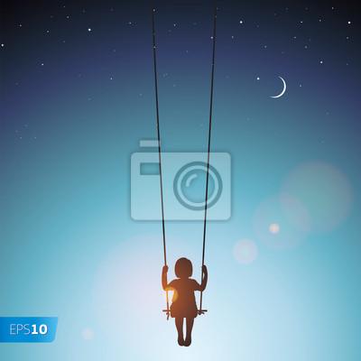 Постер Разные детские постеры Маленькая девочка на качелях, векторные Eps 10 иллюстрацииРазные детские постеры<br>Постер на холсте или бумаге. Любого нужного вам размера. В раме или без. Подвес в комплекте. Трехслойная надежная упаковка. Доставим в любую точку России. Вам осталось только повесить картину на стену!<br>