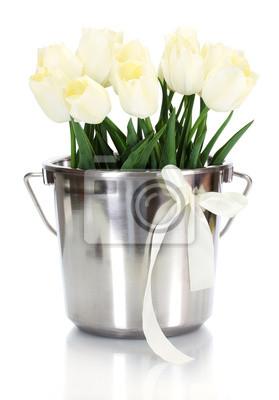 Постер Тюльпаны Красивые тюльпаны в ведро, изолированных на белый.Тюльпаны<br>Постер на холсте или бумаге. Любого нужного вам размера. В раме или без. Подвес в комплекте. Трехслойная надежная упаковка. Доставим в любую точку России. Вам осталось только повесить картину на стену!<br>