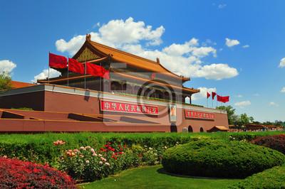 Постер Пекин Китай флаг строительства Ворота ТяньаньмэньПекин<br>Постер на холсте или бумаге. Любого нужного вам размера. В раме или без. Подвес в комплекте. Трехслойная надежная упаковка. Доставим в любую точку России. Вам осталось только повесить картину на стену!<br>