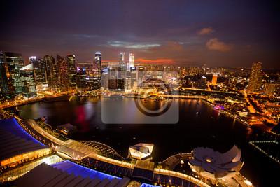 Постер Сингапур Тем Сингапура с крыши Marina Bay, в ночь.Сингапур<br>Постер на холсте или бумаге. Любого нужного вам размера. В раме или без. Подвес в комплекте. Трехслойная надежная упаковка. Доставим в любую точку России. Вам осталось только повесить картину на стену!<br>