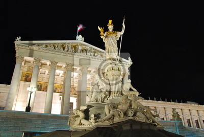 Постер Вена Парламент Австрии ночью, Вена, 30x20 см, на бумагеВена<br>Постер на холсте или бумаге. Любого нужного вам размера. В раме или без. Подвес в комплекте. Трехслойная надежная упаковка. Доставим в любую точку России. Вам осталось только повесить картину на стену!<br>
