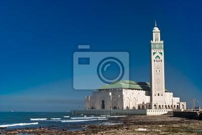 Постер Марокко Царь Мечеть Хасана II, Касабланка, МароккоМарокко<br>Постер на холсте или бумаге. Любого нужного вам размера. В раме или без. Подвес в комплекте. Трехслойная надежная упаковка. Доставим в любую точку России. Вам осталось только повесить картину на стену!<br>
