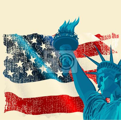 Постер Статуя свободыФлаг США<br>Постер на холсте или бумаге. Любого нужного вам размера. В раме или без. Подвес в комплекте. Трехслойная надежная упаковка. Доставим в любую точку России. Вам осталось только повесить картину на стену!<br>
