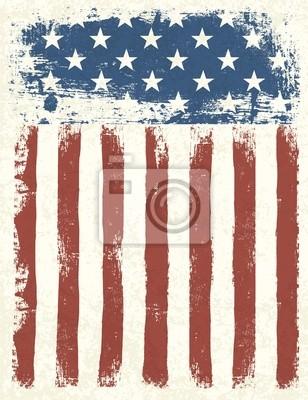Постер Гранж фоне американского флага. Векторные иллюстрации, EPS 10.Флаг США<br>Постер на холсте или бумаге. Любого нужного вам размера. В раме или без. Подвес в комплекте. Трехслойная надежная упаковка. Доставим в любую точку России. Вам осталось только повесить картину на стену!<br>