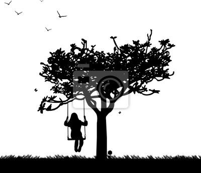 Постер Дизайнерские обои для детской Девочка на качелях в парке или саду силуэтДизайнерские обои для детской<br>Постер на холсте или бумаге. Любого нужного вам размера. В раме или без. Подвес в комплекте. Трехслойная надежная упаковка. Доставим в любую точку России. Вам осталось только повесить картину на стену!<br>