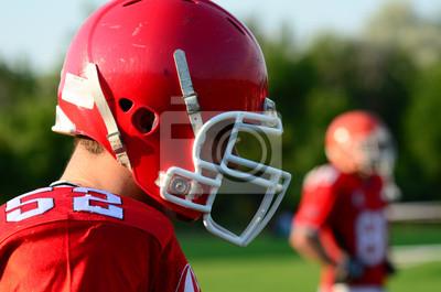 Постер Американский футбол Американский футболист носить красный шлемАмериканский футбол<br>Постер на холсте или бумаге. Любого нужного вам размера. В раме или без. Подвес в комплекте. Трехслойная надежная упаковка. Доставим в любую точку России. Вам осталось только повесить картину на стену!<br>