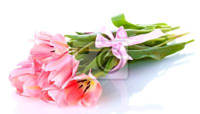 Постер Тюльпаны Красивые розовые тюльпаны, изолированных на белый.Тюльпаны<br>Постер на холсте или бумаге. Любого нужного вам размера. В раме или без. Подвес в комплекте. Трехслойная надежная упаковка. Доставим в любую точку России. Вам осталось только повесить картину на стену!<br>