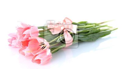 Красивые розовые тюльпаны, изолированных на белый., 35x20 см, на бумагеТюльпаны<br>Постер на холсте или бумаге. Любого нужного вам размера. В раме или без. Подвес в комплекте. Трехслойная надежная упаковка. Доставим в любую точку России. Вам осталось только повесить картину на стену!<br>