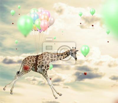 Постер Животные Гениальный жираф достижения apple летать с помощью воздушных шаров, 23x20 см, на бумагеЖирафы<br>Постер на холсте или бумаге. Любого нужного вам размера. В раме или без. Подвес в комплекте. Трехслойная надежная упаковка. Доставим в любую точку России. Вам осталось только повесить картину на стену!<br>