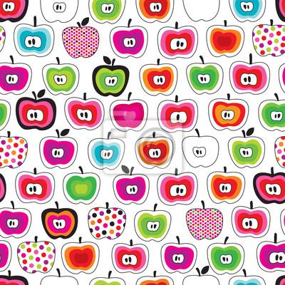 Постер Дизайнерские обои для детской Бесшовные мило ретро apple Рисунок в вектореДизайнерские обои для детской<br>Постер на холсте или бумаге. Любого нужного вам размера. В раме или без. Подвес в комплекте. Трехслойная надежная упаковка. Доставим в любую точку России. Вам осталось только повесить картину на стену!<br>