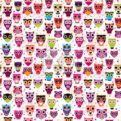 Постер Дизайнерские обои для детской Бесшовные разноцветные сова шаблон для детей в вектореДизайнерские обои для детской<br>Постер на холсте или бумаге. Любого нужного вам размера. В раме или без. Подвес в комплекте. Трехслойная надежная упаковка. Доставим в любую точку России. Вам осталось только повесить картину на стену!<br>