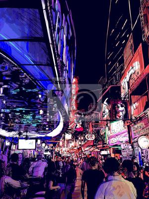Постер Современный городской пейзаж Ночная жизнь на одной из улиц Бангкока в ТаиландеСовременный городской пейзаж<br>Постер на холсте или бумаге. Любого нужного вам размера. В раме или без. Подвес в комплекте. Трехслойная надежная упаковка. Доставим в любую точку России. Вам осталось только повесить картину на стену!<br>