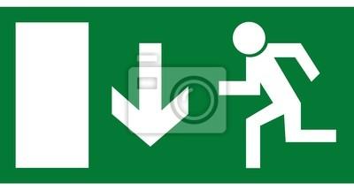 Постер Rettungszeichen - Notausgang untenНадпись EXIT<br>Постер на холсте или бумаге. Любого нужного вам размера. В раме или без. Подвес в комплекте. Трехслойная надежная упаковка. Доставим в любую точку России. Вам осталось только повесить картину на стену!<br>
