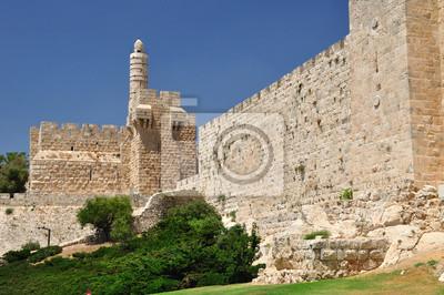 Постер Иерусалим Царь Давид башни и Старый Иерусалим стена.Иерусалим<br>Постер на холсте или бумаге. Любого нужного вам размера. В раме или без. Подвес в комплекте. Трехслойная надежная упаковка. Доставим в любую точку России. Вам осталось только повесить картину на стену!<br>