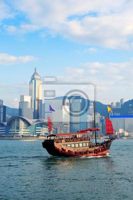 Постер Гонконг Гонконг с лодкиГонконг<br>Постер на холсте или бумаге. Любого нужного вам размера. В раме или без. Подвес в комплекте. Трехслойная надежная упаковка. Доставим в любую точку России. Вам осталось только повесить картину на стену!<br>