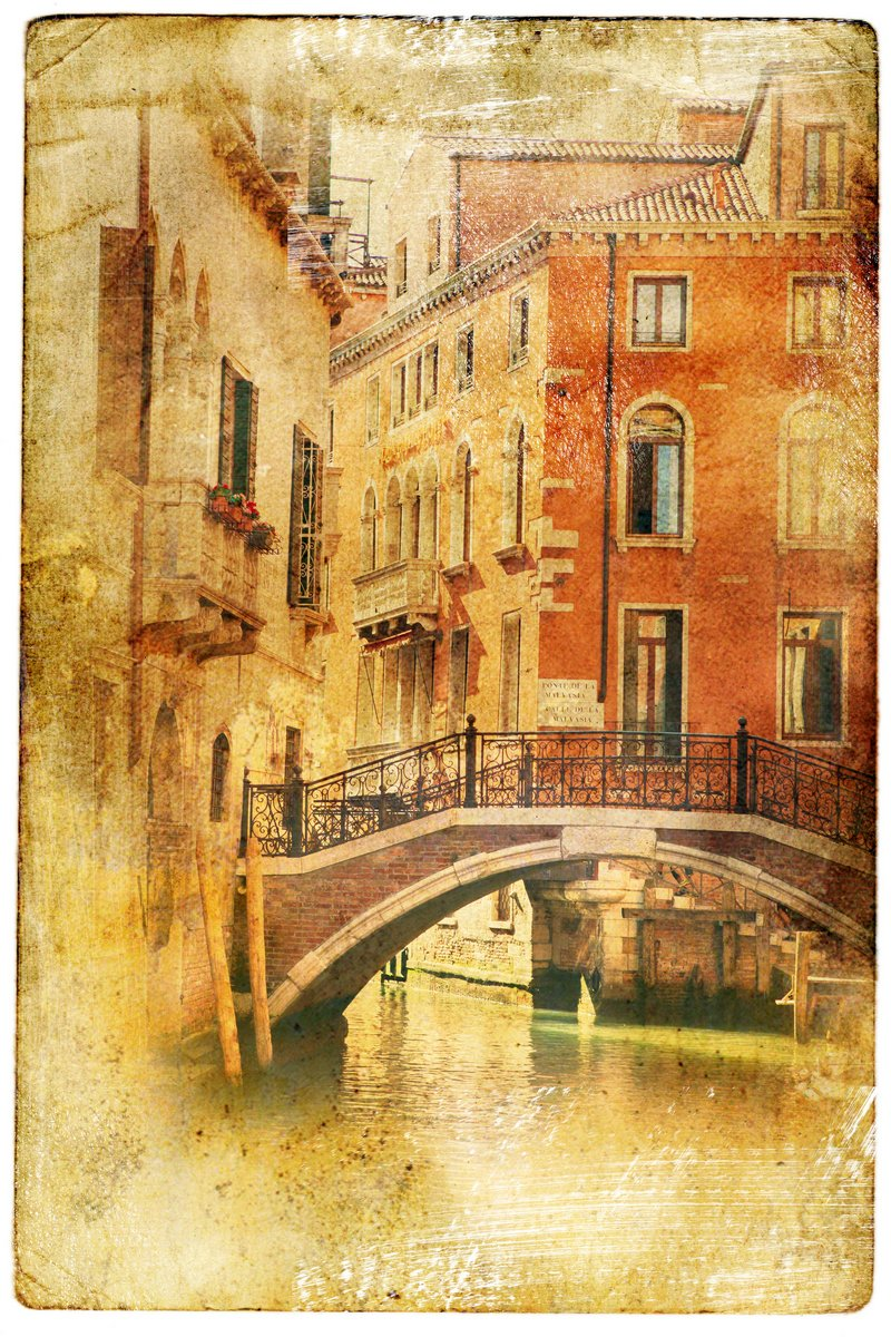 Постер Страны Виды Венеции в винтажном стиле, как открытки, 20x30 см, на бумагеИталия<br>Постер на холсте или бумаге. Любого нужного вам размера. В раме или без. Подвес в комплекте. Трехслойная надежная упаковка. Доставим в любую точку России. Вам осталось только повесить картину на стену!<br>
