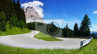 Постер Альпийский пейзаж Доломиты пейзаж с горной дороге.Альпийский пейзаж<br>Постер на холсте или бумаге. Любого нужного вам размера. В раме или без. Подвес в комплекте. Трехслойная надежная упаковка. Доставим в любую точку России. Вам осталось только повесить картину на стену!<br>