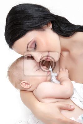 Постер Картина счастливой матери с ребенком над белымДети<br>Постер на холсте или бумаге. Любого нужного вам размера. В раме или без. Подвес в комплекте. Трехслойная надежная упаковка. Доставим в любую точку России. Вам осталось только повесить картину на стену!<br>
