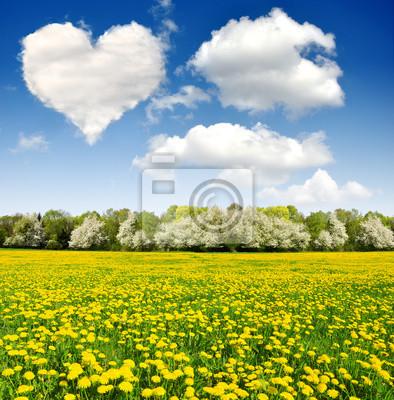 Постер Одуванчики Сердце от облака над весенний пейзажОдуванчики<br>Постер на холсте или бумаге. Любого нужного вам размера. В раме или без. Подвес в комплекте. Трехслойная надежная упаковка. Доставим в любую точку России. Вам осталось только повесить картину на стену!<br>