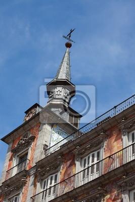 Постер Мадрид Деталь фасадом на Palza Mayor, Мадрид, Испания.Мадрид<br>Постер на холсте или бумаге. Любого нужного вам размера. В раме или без. Подвес в комплекте. Трехслойная надежная упаковка. Доставим в любую точку России. Вам осталось только повесить картину на стену!<br>