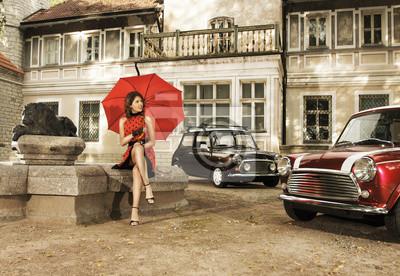 Винтажной моды снимать с молодой женщиной, держа зонтик, 29x20 см, на бумагеАнглия<br>Постер на холсте или бумаге. Любого нужного вам размера. В раме или без. Подвес в комплекте. Трехслойная надежная упаковка. Доставим в любую точку России. Вам осталось только повесить картину на стену!<br>