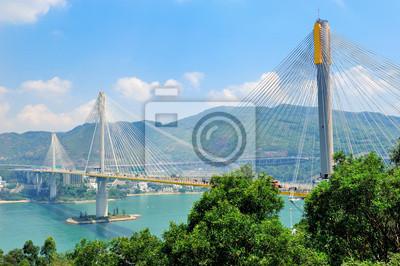 Постер Гонконг Мост в ГонконгеГонконг<br>Постер на холсте или бумаге. Любого нужного вам размера. В раме или без. Подвес в комплекте. Трехслойная надежная упаковка. Доставим в любую точку России. Вам осталось только повесить картину на стену!<br>