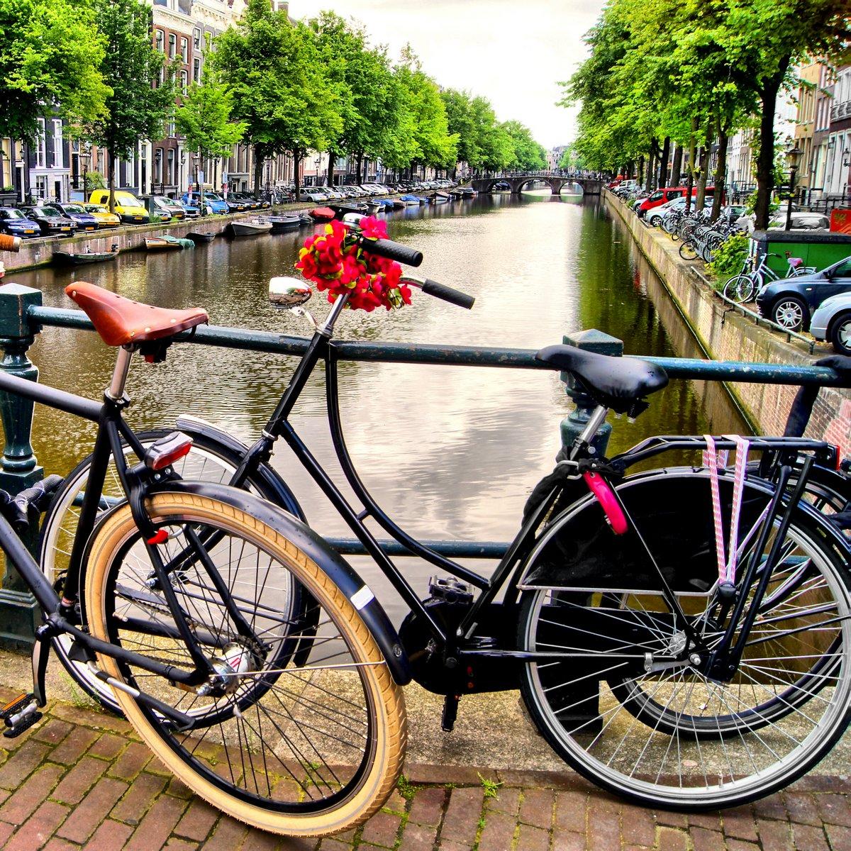 Постер Голландия Велосипед вдоль канала в Амстердаме, НидерландыГолландия<br>Постер на холсте или бумаге. Любого нужного вам размера. В раме или без. Подвес в комплекте. Трехслойная надежная упаковка. Доставим в любую точку России. Вам осталось только повесить картину на стену!<br>