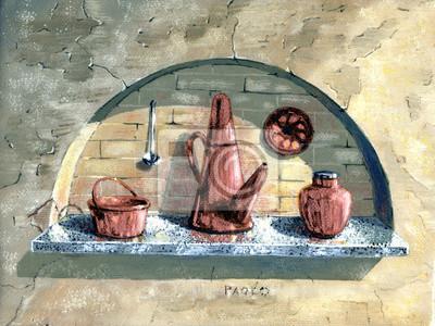 Искусство, картина Медные тазы, 27x20 см, на бумагеНатюрморт в современной живописи<br>Постер на холсте или бумаге. Любого нужного вам размера. В раме или без. Подвес в комплекте. Трехслойная надежная упаковка. Доставим в любую точку России. Вам осталось только повесить картину на стену!<br>