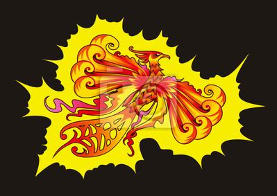 Птица Феникс, картина Мифический Феникс или пламенеющая птица, векторные иллюстрацииПтица Феникс<br>Репродукция на холсте или бумаге. Любого нужного вам размера. В раме или без. Подвес в комплекте. Трехслойная надежная упаковка. Доставим в любую точку России. Вам осталось только повесить картину на стену!<br>