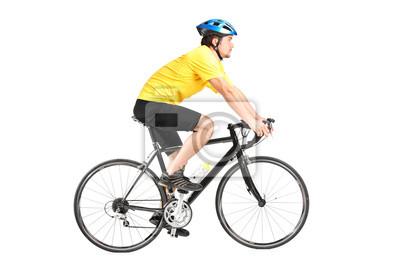 Полная длина портрет человека, езда на велосипеде, 30x20 см, на бумагеВелосипедисты<br>Постер на холсте или бумаге. Любого нужного вам размера. В раме или без. Подвес в комплекте. Трехслойная надежная упаковка. Доставим в любую точку России. Вам осталось только повесить картину на стену!<br>