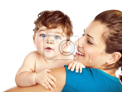 Счастливая мать с маленьким ребенком, 26x20 см, на бумагеДети<br>Постер на холсте или бумаге. Любого нужного вам размера. В раме или без. Подвес в комплекте. Трехслойная надежная упаковка. Доставим в любую точку России. Вам осталось только повесить картину на стену!<br>