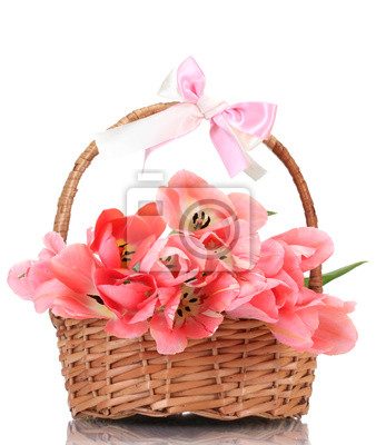 Постер Тюльпаны Красивые розовые тюльпаны в корзине, изолированных на белый.Тюльпаны<br>Постер на холсте или бумаге. Любого нужного вам размера. В раме или без. Подвес в комплекте. Трехслойная надежная упаковка. Доставим в любую точку России. Вам осталось только повесить картину на стену!<br>