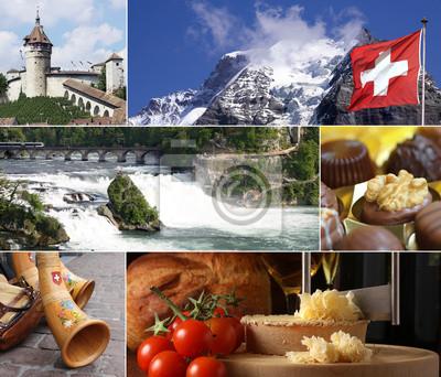 Постер Альпийский пейзаж Швейцария Достопримечательность КоллажАльпийский пейзаж<br>Постер на холсте или бумаге. Любого нужного вам размера. В раме или без. Подвес в комплекте. Трехслойная надежная упаковка. Доставим в любую точку России. Вам осталось только повесить картину на стену!<br>