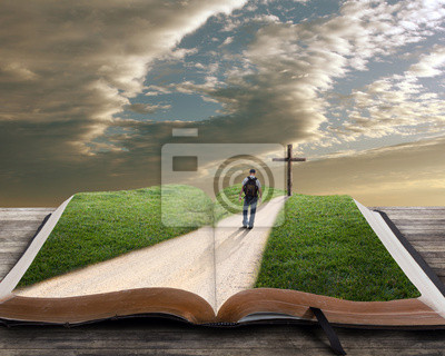 Постер Деятельность Откройте Библию с человеком и крест, 25x20 см, на бумагеРелигия<br>Постер на холсте или бумаге. Любого нужного вам размера. В раме или без. Подвес в комплекте. Трехслойная надежная упаковка. Доставим в любую точку России. Вам осталось только повесить картину на стену!<br>