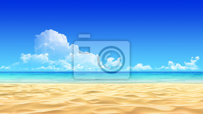 Постер Пейзаж морской Идиллический тропический песчаный пляж фоне.Пейзаж морской<br>Постер на холсте или бумаге. Любого нужного вам размера. В раме или без. Подвес в комплекте. Трехслойная надежная упаковка. Доставим в любую точку России. Вам осталось только повесить картину на стену!<br>