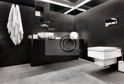 Постер Оформление офиса Современный минимализм стиля интерьера ванной комнаты в черном, 30x20 см, на бумагеСалон сантехники<br>Постер на холсте или бумаге. Любого нужного вам размера. В раме или без. Подвес в комплекте. Трехслойная надежная упаковка. Доставим в любую точку России. Вам осталось только повесить картину на стену!<br>