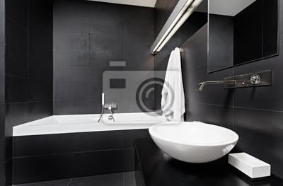 Современный минимализм стиля интерьера ванной комнаты в черном, 30x20 см, на бумагеСалон сантехники<br>Постер на холсте или бумаге. Любого нужного вам размера. В раме или без. Подвес в комплекте. Трехслойная надежная упаковка. Доставим в любую точку России. Вам осталось только повесить картину на стену!<br>