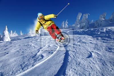Постер Горные лыжи Лыжник на лыжах с горы на горыГорные лыжи<br>Постер на холсте или бумаге. Любого нужного вам размера. В раме или без. Подвес в комплекте. Трехслойная надежная упаковка. Доставим в любую точку России. Вам осталось только повесить картину на стену!<br>